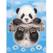 """Картина по номерам раскраска """"Панда на качелях"""""""