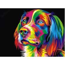 """Картина по номерам раскраска """" Радужный пёс"""""""