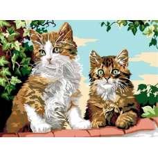 """Картина по номерам раскраска """" Котята на заборе"""""""