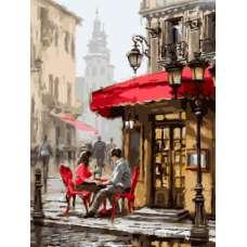 """Картина по номерам раскраска """"Влюбленные в кафе"""""""