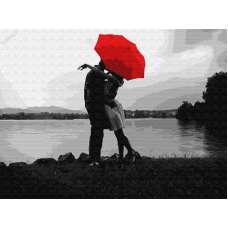 """Картина по номерам раскраска """"Свидание под красным зонтом"""""""