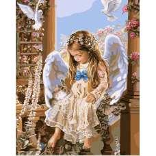 "Картина по номерам раскраска ""Девочка-Ангел"""