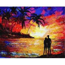 """Картина по номерам раскраска """"Влюблённые на закате"""""""