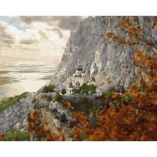 """Картина по номерам раскраска """"Храм на горе"""""""