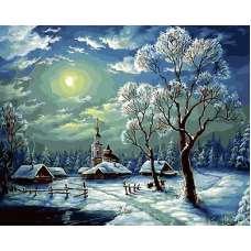 """Картина по номерам раскраска """" Зимний ночной пейзаж"""""""