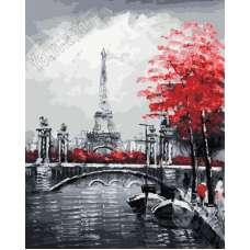 """Картина по номерам раскраска """" Канал на фоне Эйфелевой башни"""""""