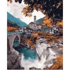 """Картина по номерам раскраска """"Храм в горах"""""""