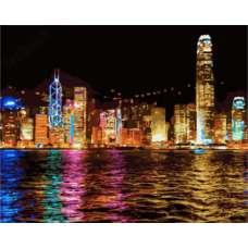 """Картина по номерам раскраска """"Ночной Гонконг"""""""