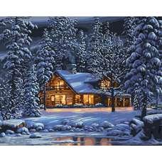 """Картина по номерам раскраска """"Зимним вечером"""""""