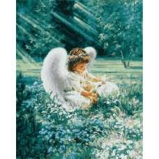"""Картина по номерам раскраска """"Ангелочек с кроликом"""""""