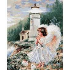 "Картина по номерам раскраска ""Ангел у маяка"""