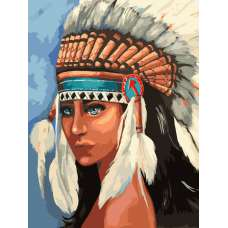 """Картина по номерам раскраска """"Индейская девушка"""""""