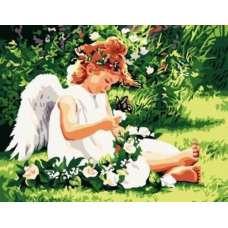 "Картина по номерам раскраска ""Ангел на лугу"""