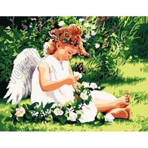 Картины по номерам на холсте холст Ангел на лугу, интернет ...