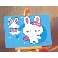 """Картина по номерам раскраска для детей """"Зайки"""""""