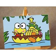 """Картина по номерам раскраска для детей """"Лягушка в лодке"""""""