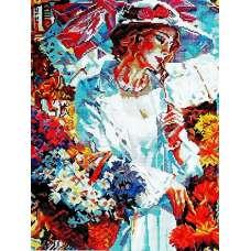 "Алмазная живопись ""Дама в цветах"""