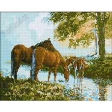 """Алмазная живопись """"Лошади на водопое"""""""