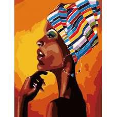 """Картина по номерам раскраска """"Портрет африканки"""""""