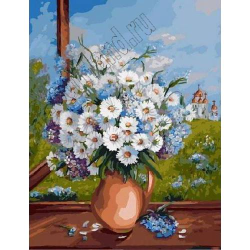 """Картины по номерам, раскраска холст """"Ромашки в вазе ..."""
