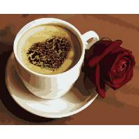 "Картина по номерам раскраска ""Кофе и сердечко"""