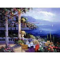 """Картина по номерам раскраска """"Балкон в залив"""""""