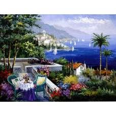 """Картина по номерам раскраска """"Балкон у залива"""""""