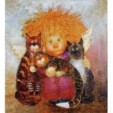"""Картина по номерам раскраска """"Котики"""""""