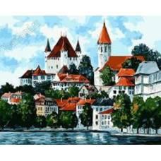 "Картина по номерам раскраска ""Замок на берегу"""