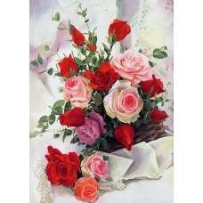"""Картина по номерам раскраска """"Розы на белом"""""""