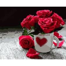 """Картина по номерам раскраска """"Розы с любовью"""""""