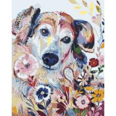 "Картина по номерам раскраска ""Пес в цветах"""