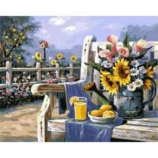 """Картина по номерам раскраска """"Лейка с цветами"""""""