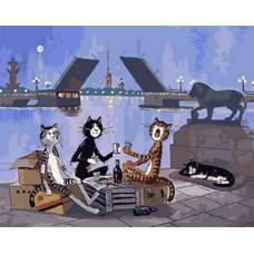 """Картина по номерам раскраска """"Питерские коты"""""""