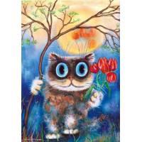 """Картина по номерам раскраска """"Котик с тюльпанами"""""""