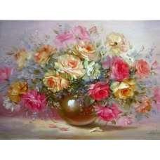 """Картина по номерам раскраска """"В золотой вазе"""""""