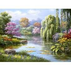 """Картина по номерам раскраска """"Пейзаж с ивой"""""""