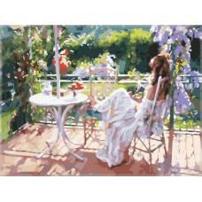 """Картина по номерам раскраска """"Девушка на балконе"""""""