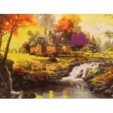 """Картина по номерам раскраска """"Дом у речного порога"""""""