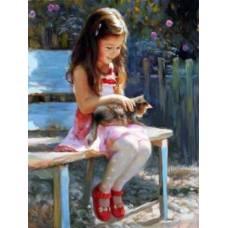 """Картина по номерам раскраска """"Погладить котенка"""""""
