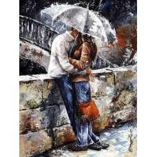 """Картина по номерам раскраска """"Поцелуй под зонтом"""""""