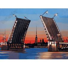 """Картина по номерам раскраска """"Дворцовый мост"""""""
