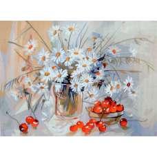 """Картина по номерам раскраска """"Ромашки и вишня"""""""