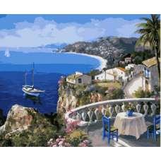 """Картина по номерам раскраска """"Балкон на воду"""""""