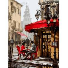 """Картина по номерам раскраска """"Кафе для двоих"""""""