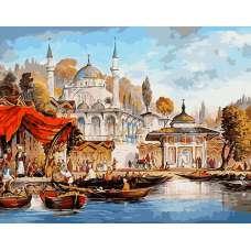 """Картина по номерам раскраска """"Площадь и мечеть"""""""