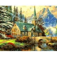 """Картина по номерам раскраска """"Церковь у моста"""""""
