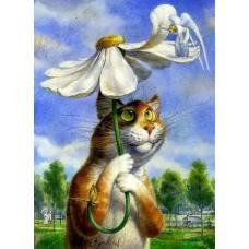 """Картина по номерам раскраска """"Кот под ромашкой"""""""