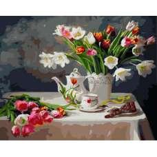 """Картина по номерам раскраска """"Много цветов"""""""