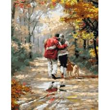 """Картина по номерам раскраска """"Прогулка в парке"""""""